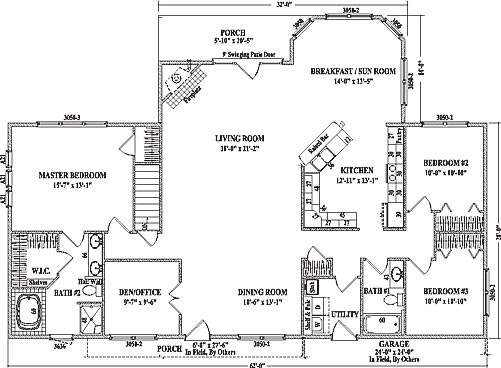 Alexandria Iii Wardcraft Homes Ranch Floorplan