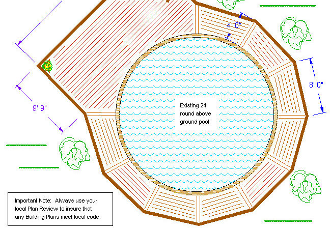 Amazing Above Ground Pool Deck Plans Round