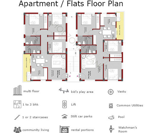 Apartment Building Floor Plans Bhk Flats