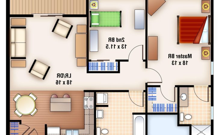 Apartments Two Bedroom Flat Design Plans Home