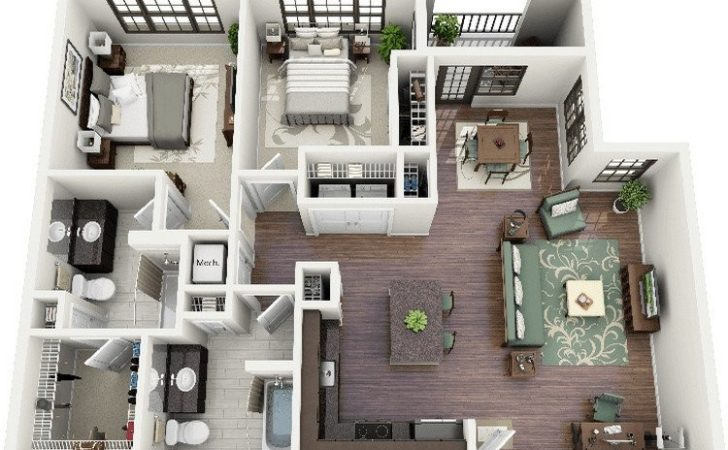 Awesome Apartment Plans Two Bedrooms Part