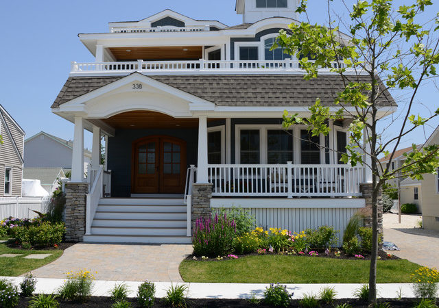 Beach House Front Elevation Features Double Doors