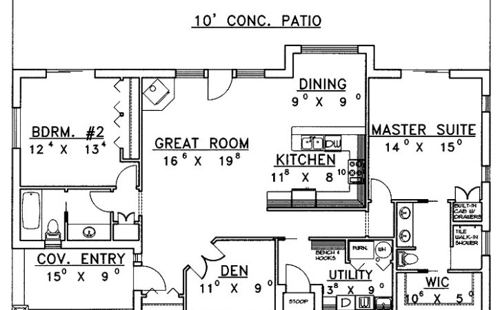 Beautiful Bedroom Ranch House Plans Hall Kitchen