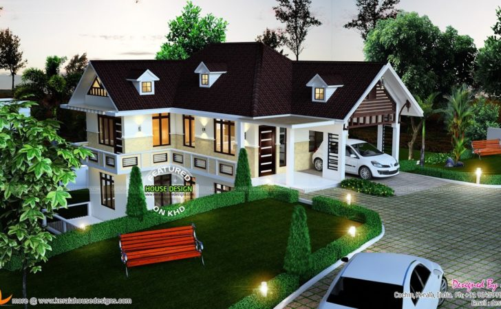 Beautiful Hillside Home Plan Kerala Design