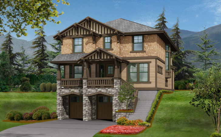 Bed House Plan Front Sloping Lot