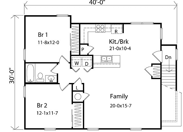 Bedroom Apartment Floor Plans Garage Height Main