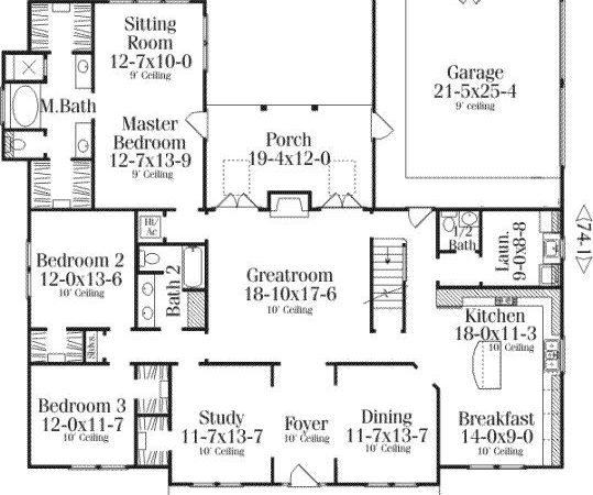 Bedroom Country House Plans Homes Floor