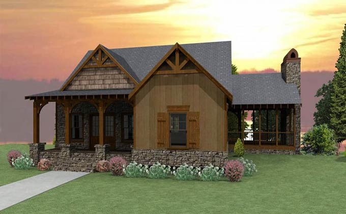 Bedroom Craftsman Cottage House Plan Porches