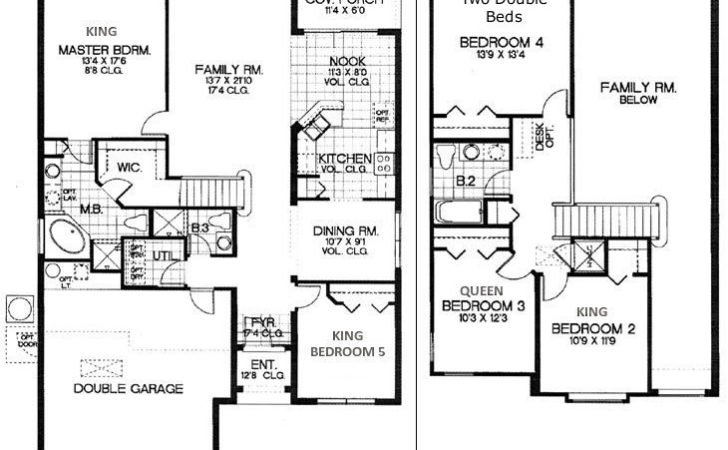 Bedroom House Floor Plan Five Ranch Home