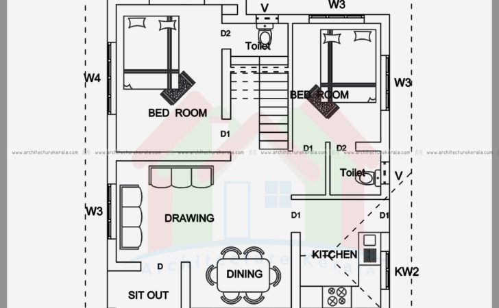 Bedroom House Plan Elevation Sqft