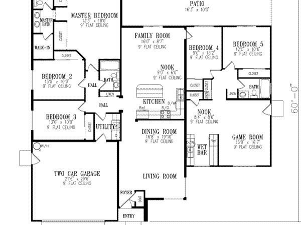 Bedroom House Plans Homes Square Feet
