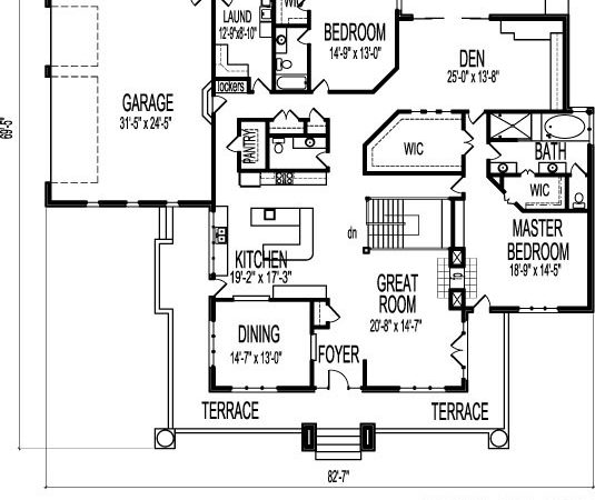 Bedroom Single Level House Plans Designs One Floor
