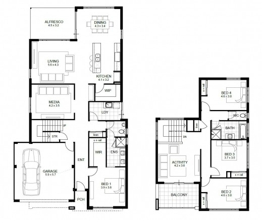 Bedrooms House Plans Floor