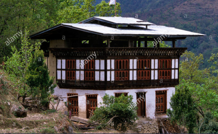 Bhutan Traditional Wooden Rammed Earth House Roof