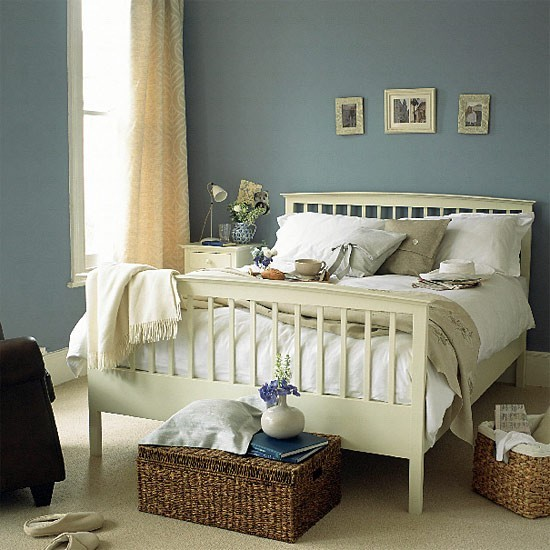 Blue Bedroom Painted Wooden Bed Housetohome