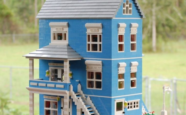 Blue Victorian House Lego Creation Rita Stallings