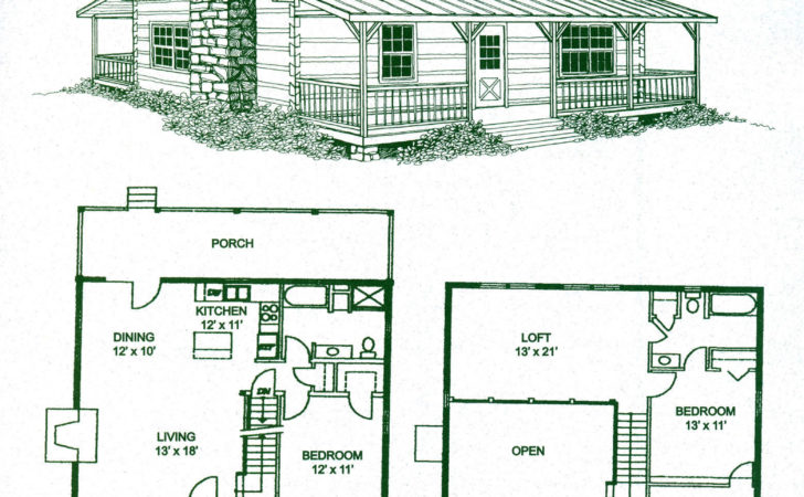 Cabin Home Plans Loft Log Floor