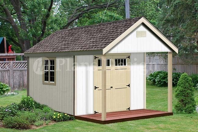 Cabin Shed Covered Porch Plans Plueprint