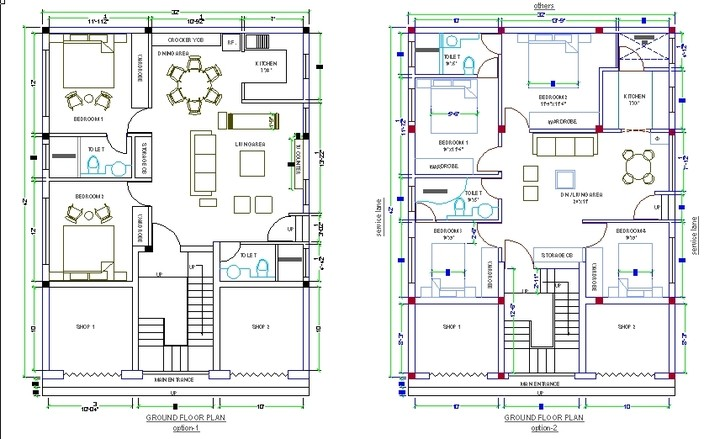 Cad Drawing House Design Dwg Home Building Plans