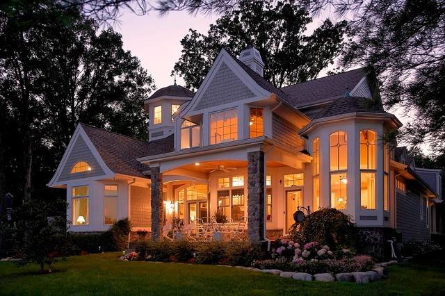 Cape Cod Shingle Style Lake Home Traditional Exterior