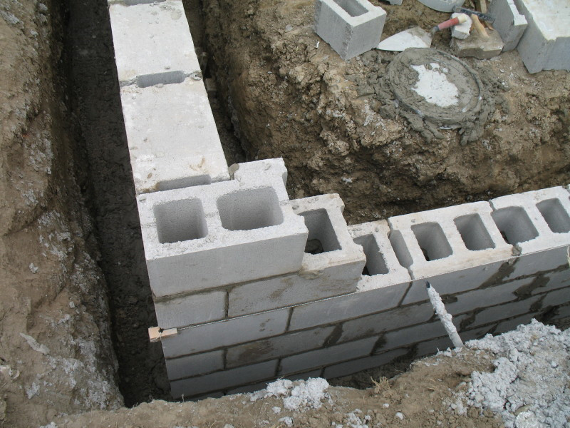 Construction Concrete Block Foundation Wall Corner