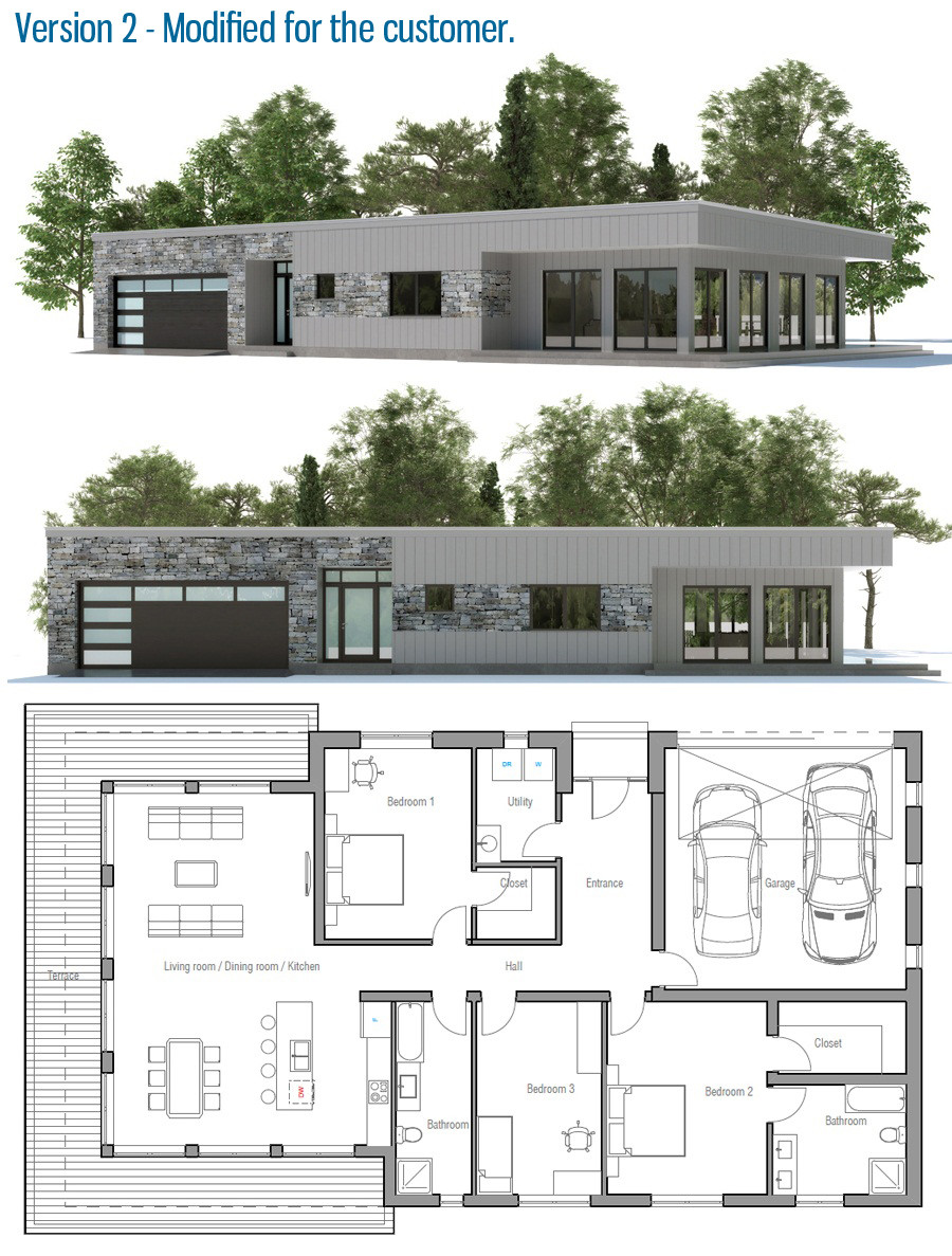 Contemporary Home Plan Floor Details House