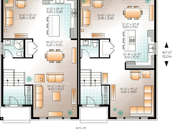 Contemporary Semi Detached Multi House Plan