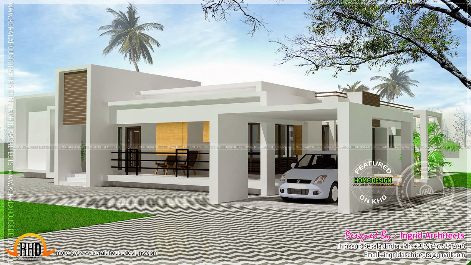 Contemporary Single Storied Luxury Home Kerala