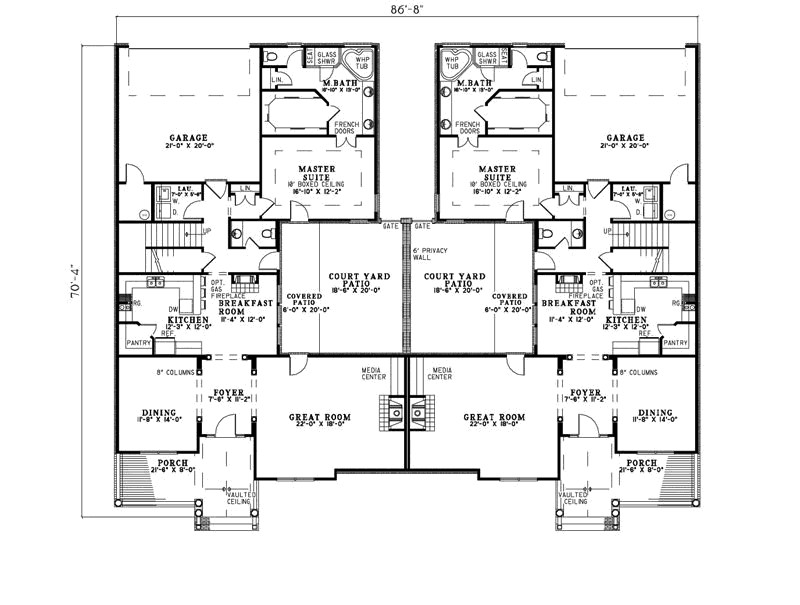Country Creek Duplex Home Plan House Plans