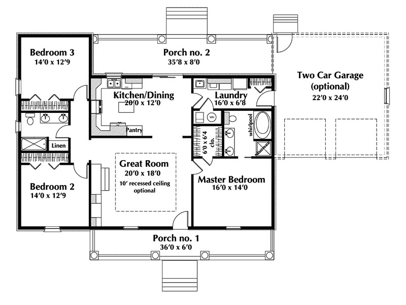 Country Style House Plans One Story Cottage