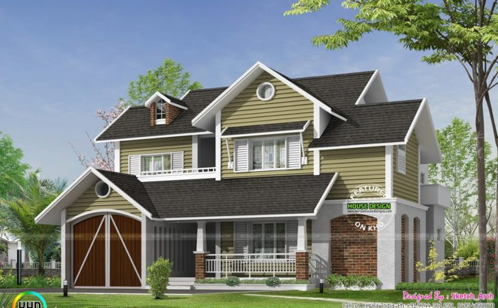 Cute European Style Home Kerala Design Floor Plans