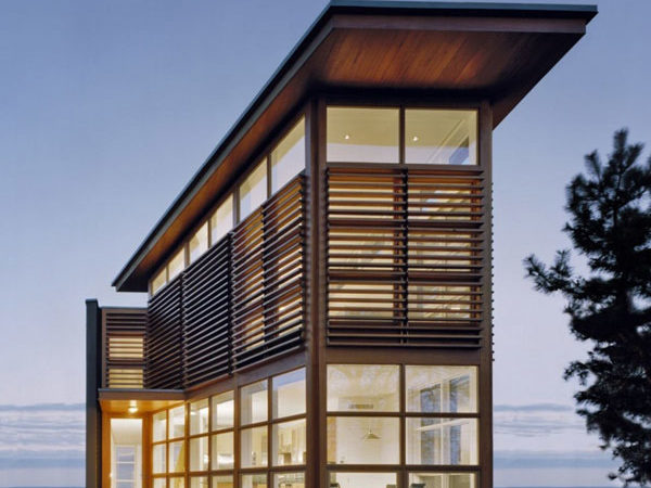 Cypress Clad Waterfront Residence Exceptional Views
