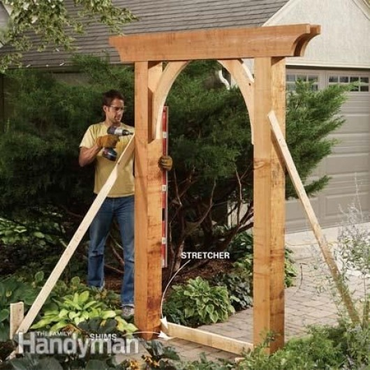 Diy Garden Ideas Arch Bench