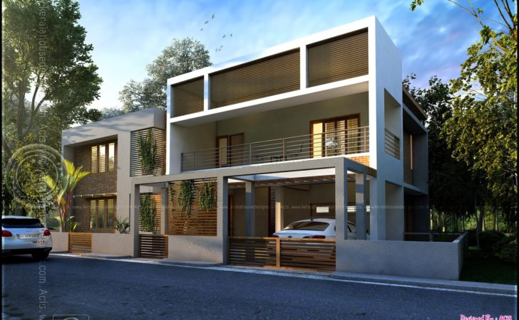 Double Storied Contemporary House Cochin Indian