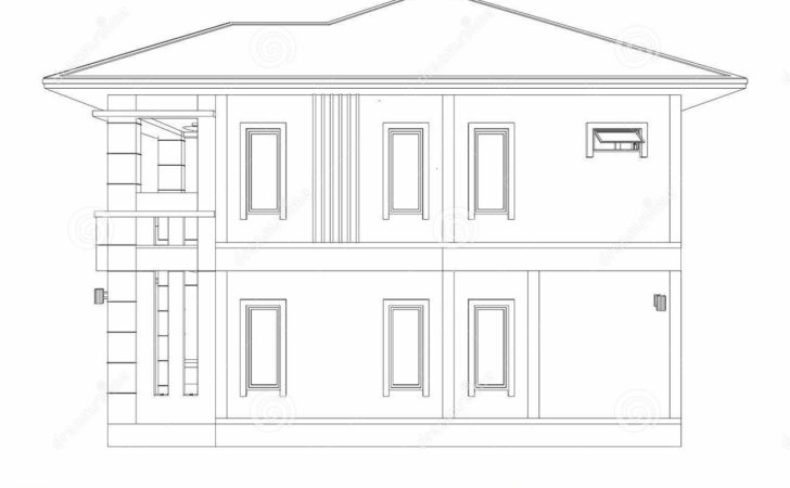 Drawing Home Building Side Illustration