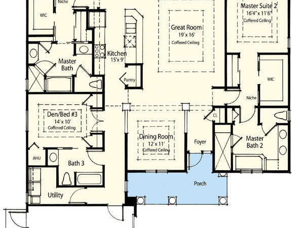 Dual Master Suite Energy Saver Architectural