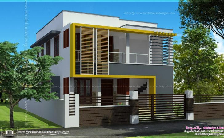 Duplex House Elevation Feet Each Kerala Home