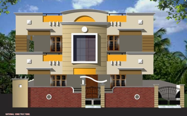 Duplex House Elevation Front Simple