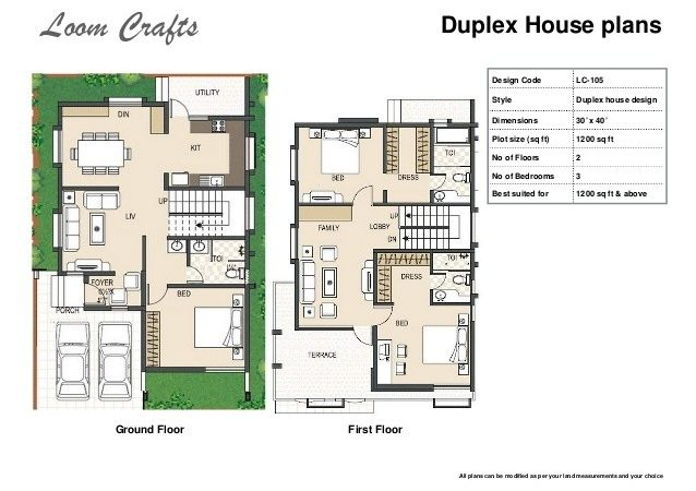 Duplex House Floor Plan India Plans
