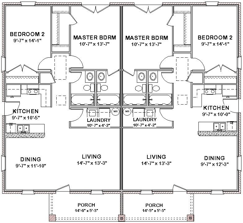 Duplex House Plans Floor Plan Bed Bath