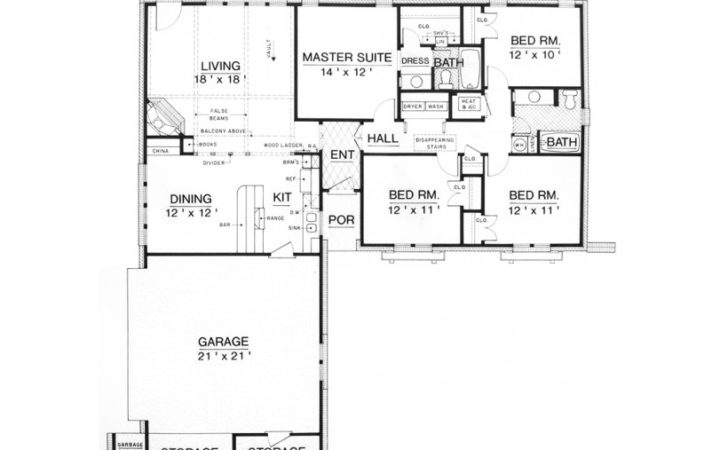 Eplans Ranch House Plan Affordable Four Bedroom