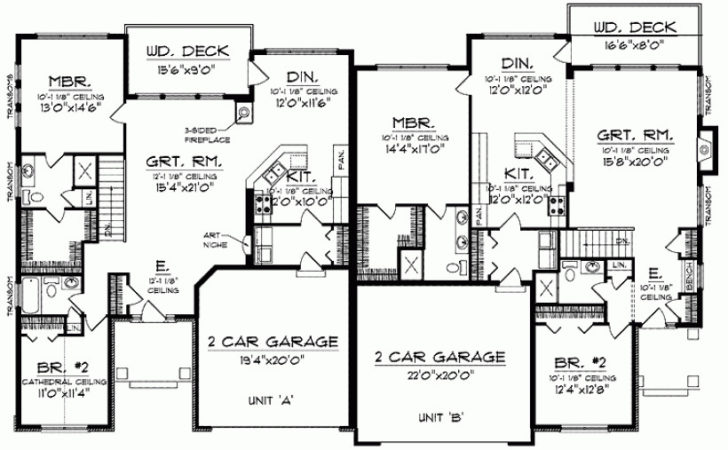 Eplans Ranch House Plan One Story Traditional Duplex
