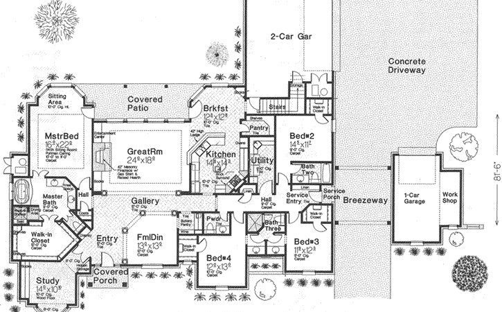European House Plan Bedrooms Bath