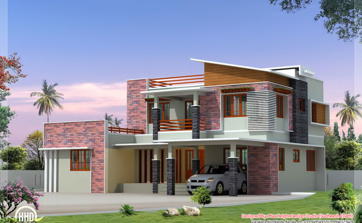 Feet Modern Bedroom Villa Elevation Kerala