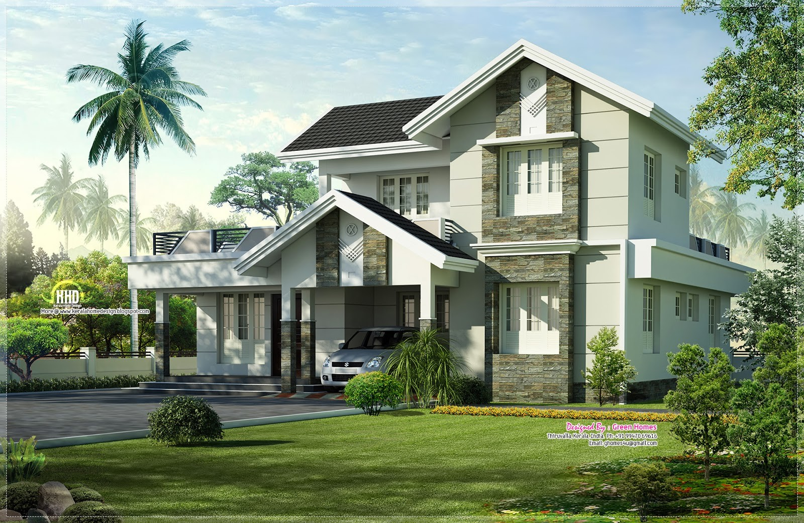 Feet Nice Home Exterior Design Kerala Plans