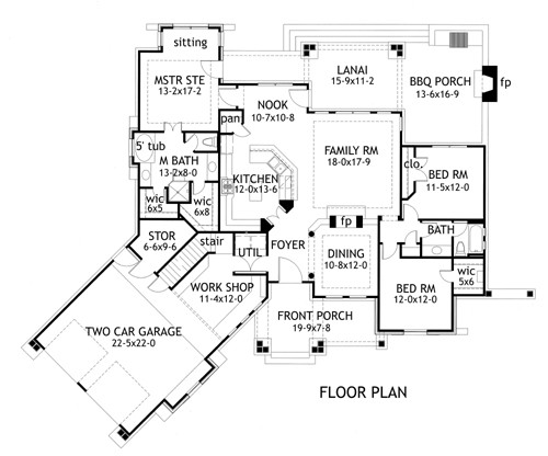First Floor Plan Cottage Craftsman Ranch Tuscan House