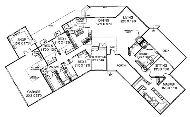 Five Bedroom Ranch Hwbdo House Plan