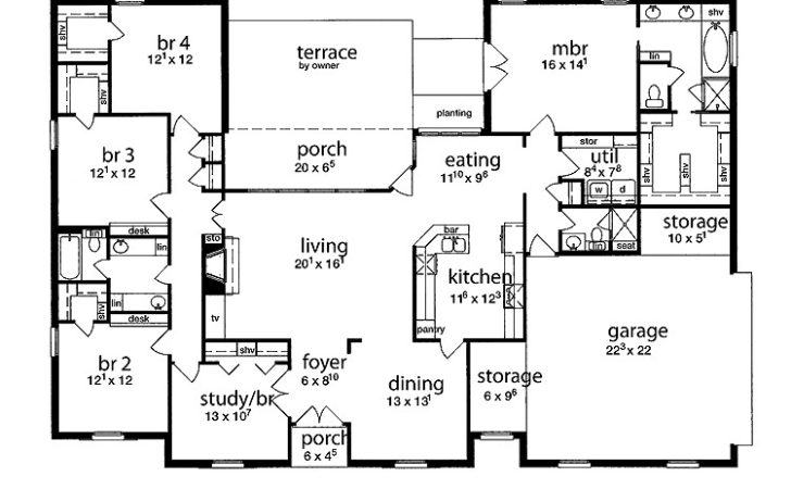 Floor Plan Bedrooms Single Story Five Bedroom Tudor