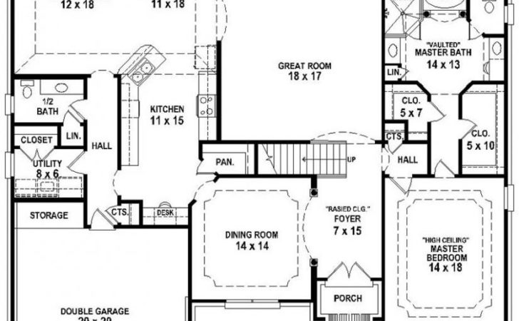French Country Bedroom Bath House Plan