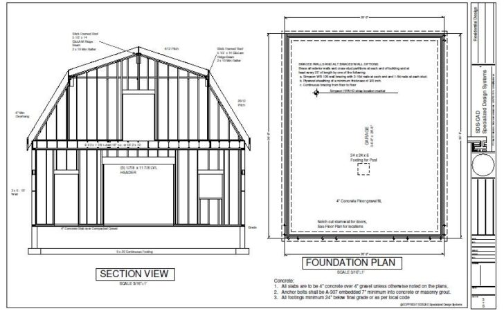 Gambrel Barn Workshop Plans Blueprint